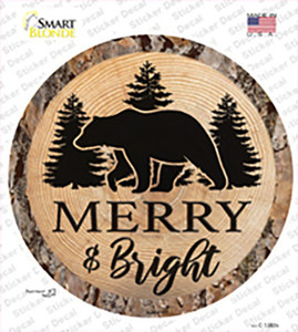 Merry and Bright Bear Wholesale Novelty Circle Sticker Decal
