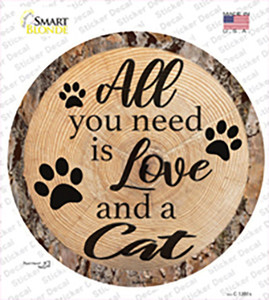 Love and a Cat Wholesale Novelty Circle Sticker Decal