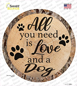 Love and a Dog Wholesale Novelty Circle Sticker Decal