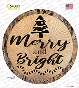 Merry and Bright Wholesale Novelty Circle Sticker Decal