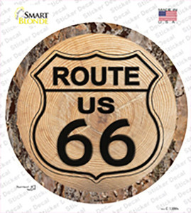 US Route 66 Wood Wholesale Novelty Circle Sticker Decal
