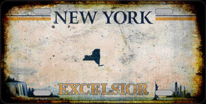New York Excelsior Rusty Wholesale Novelty Metal License Plate