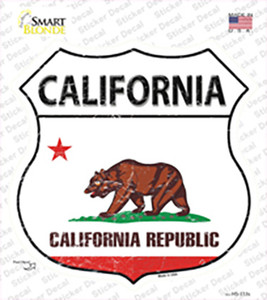 California Flag Wholesale Novelty Highway Shield Sticker Decal