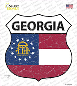 Georgia State Flag Wholesale Novelty Highway Shield Sticker Decal