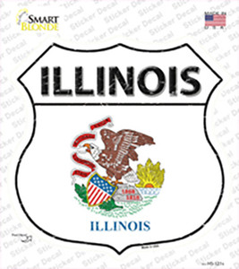 Illinois Flag Wholesale Novelty Highway Shield Sticker Decal