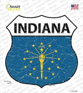 Indiana Flag Wholesale Novelty Highway Shield Sticker Decal