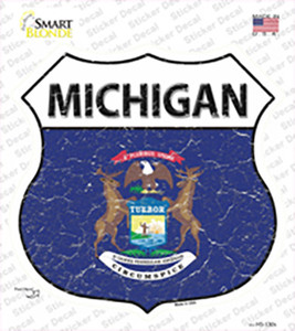 Michigan Flag Wholesale Novelty Highway Shield Sticker Decal