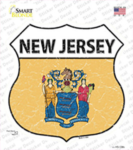 New Jersey Flag Wholesale Novelty Highway Shield Sticker Decal