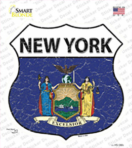 New York Flag Wholesale Novelty Highway Shield Sticker Decal