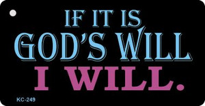 Gods Will Mini License Plate Metal Novelty Key Chain