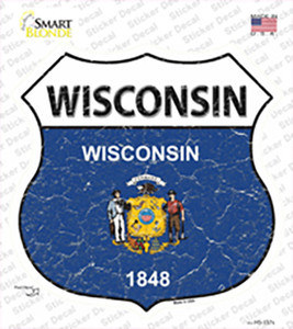 Wisconsin Flag Wholesale Novelty Highway Shield Sticker Decal