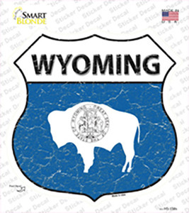 Wyoming Flag Wholesale Novelty Highway Shield Sticker Decal
