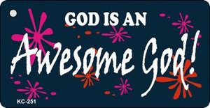 Awesome God Mini License Plate Metal Novelty Key Chain