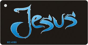 Jesus Blue Mini License Plate Metal Novelty Key Chain