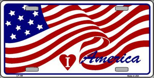 I Love America Flag Wholesale Metal Novelty License Plate