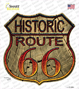 Historic Route 66 Wood Wholesale Novelty Highway Shield Sticker Decal