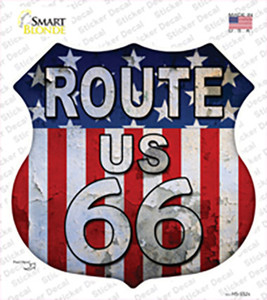 Route 66 Vertical American Flag Wholesale Novelty Highway Shield Sticker Decal