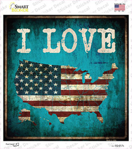 I Love USA Wholesale Novelty Square Sticker Decal