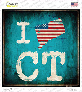 I Love Connecticut Wholesale Novelty Square Sticker Decal