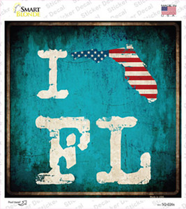 I Love Florida Wholesale Novelty Square Sticker Decal
