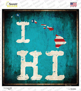 I Love Hawaii Wholesale Novelty Square Sticker Decal