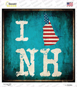 I Love New Hampshire Wholesale Novelty Square Sticker Decal