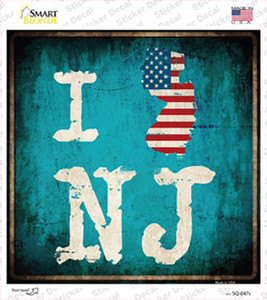 I Love New Jersey Wholesale Novelty Square Sticker Decal