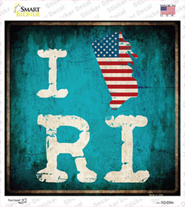 I Love Rhode Island Wholesale Novelty Square Sticker Decal