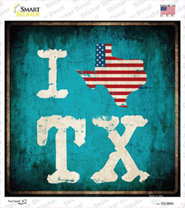I Love Texas Wholesale Novelty Square Sticker Decal