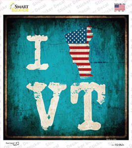 I Love Vermont Wholesale Novelty Square Sticker Decal