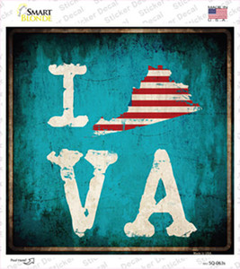 I Love Virginia Wholesale Novelty Square Sticker Decal