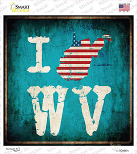 I Love West Virginia Wholesale Novelty Square Sticker Decal