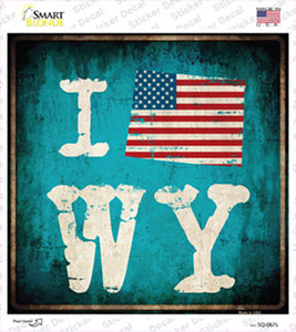 I Love Wyoming Wholesale Novelty Square Sticker Decal