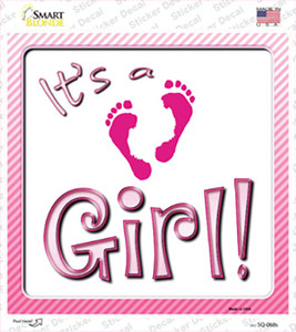 Its A Girl Footprints Wholesale Novelty Square Sticker Decal