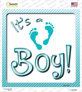 Its A Boy Footprints Wholesale Novelty Square Sticker Decal