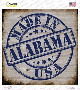 Alabama Stamp On Wood Wholesale Novelty Square Sticker Decal