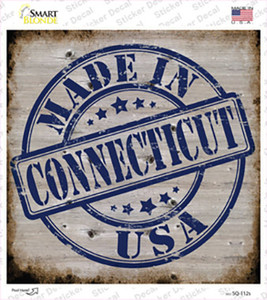 Connecticut Stamp On Wood Wholesale Novelty Square Sticker Decal