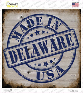 Delaware Stamp On Wood Wholesale Novelty Square Sticker Decal