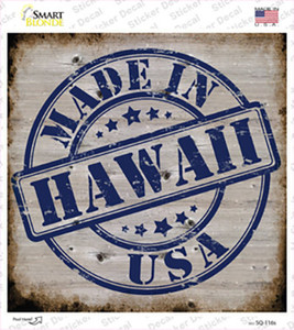Hawaii Stamp On Wood Wholesale Novelty Square Sticker Decal