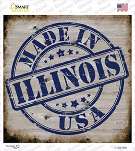 Illinois Stamp On Wood Wholesale Novelty Square Sticker Decal