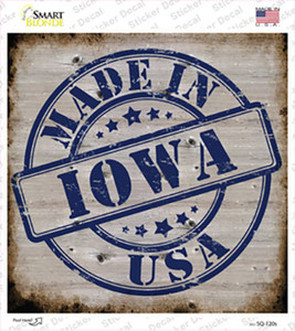 Iowa Stamp On Wood Wholesale Novelty Square Sticker Decal