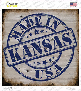 Kansas Stamp On Wood Wholesale Novelty Square Sticker Decal