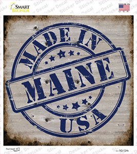 Maine Stamp On Wood Wholesale Novelty Square Sticker Decal