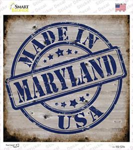 Maryland Stamp On Wood Wholesale Novelty Square Sticker Decal