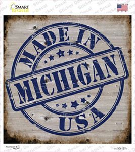Michigan Stamp On Wood Wholesale Novelty Square Sticker Decal