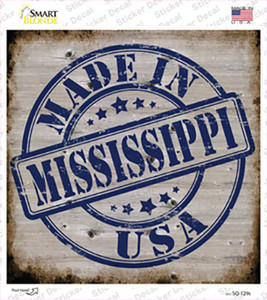 Mississippi Stamp On Wood Wholesale Novelty Square Sticker Decal