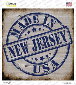 New Jersey Stamp On Wood Wholesale Novelty Square Sticker Decal