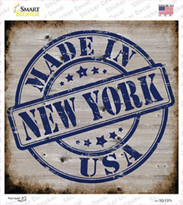 New York Stamp On Wood Wholesale Novelty Square Sticker Decal