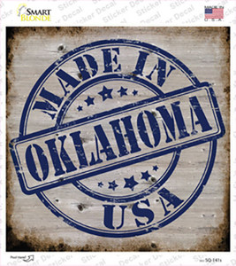 Oklahoma Stamp On Wood Wholesale Novelty Square Sticker Decal