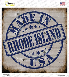 Rhode Island Stamp On Wood Wholesale Novelty Square Sticker Decal